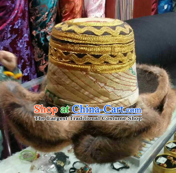 Handmade Chinese Zang Nationality Yellow Hat Traditional Tibetan Ethnic Hair Accessories for Men