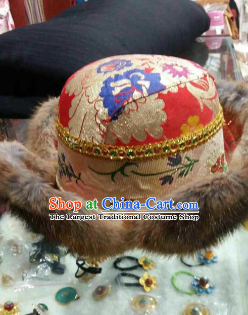 Handmade Chinese Zang Nationality Red Hat Traditional Tibetan Ethnic Hair Accessories for Men