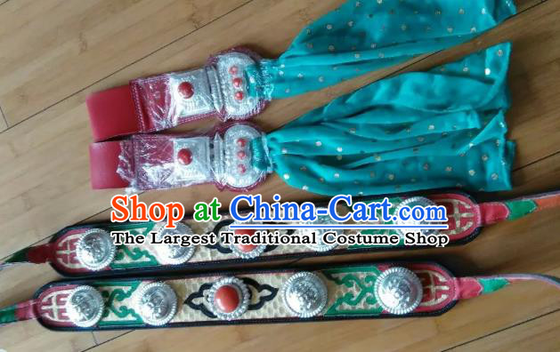 Chinese Zang Nationality Leather Belts Handmade Traditional Tibetan Ethnic Waistband Accessories for Kids