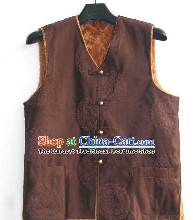 Chinese Tibetan Buddhism Brown Woolen Vest Traditional Monk Waistcoat Upper Outer Garment for Men