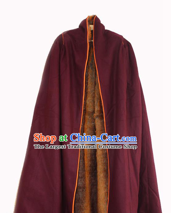 Chinese Tibetan Buddhism Winter Wine Red Cloak Traditional Monk Cape for Men