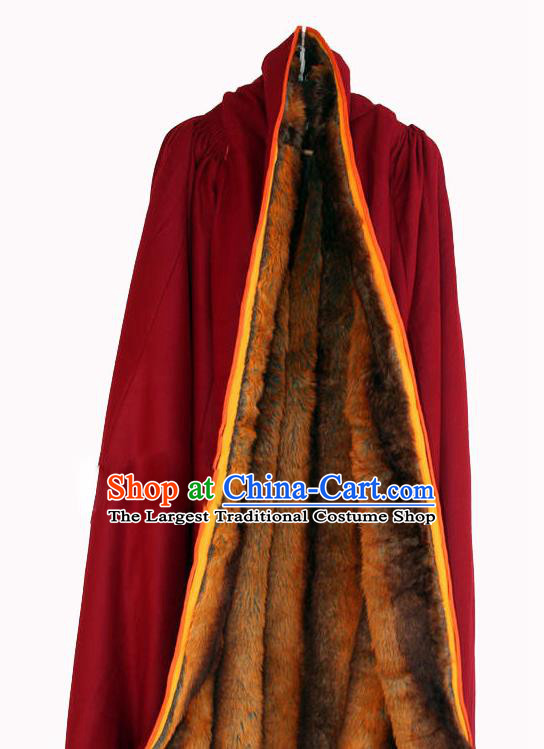 Chinese Tibetan Buddhism Winter Red Cloak Traditional Monk Cape for Men