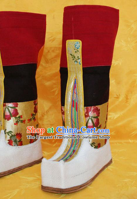 Chinese Zang Nationality Leather Wine Red Boots Handmade Shoes Traditional Tibetan Ethnic Boots for Women