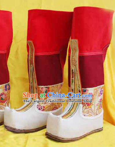 Chinese Zang Nationality Leather Red Boots Handmade Shoes Traditional Tibetan Ethnic Boots for Women