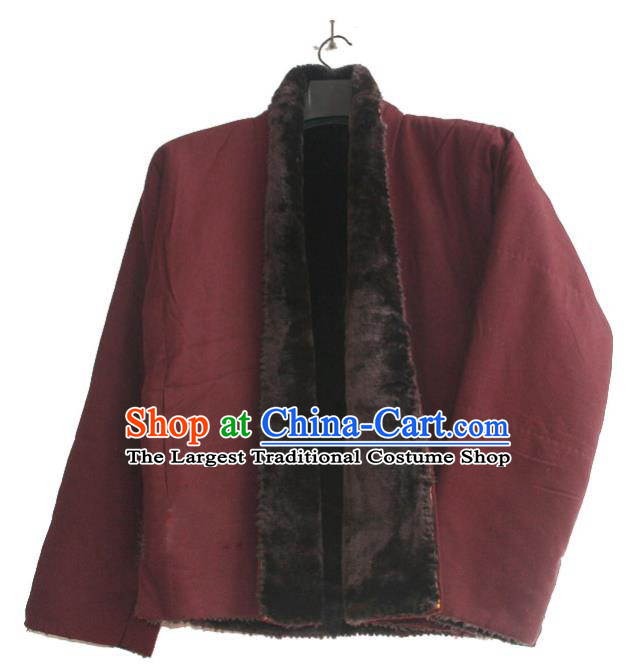 Chinese Tibetan Buddhism Purplish Red Jacket Traditional Monk Upper Outer Garment for Men