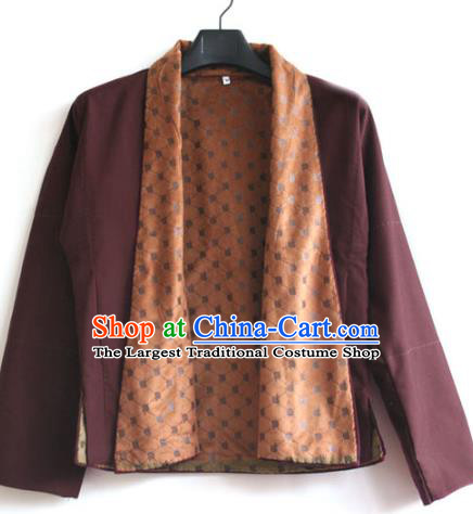 Chinese Tibetan Buddhism Wine Red Jacket Traditional Monk Upper Outer Garment for Men
