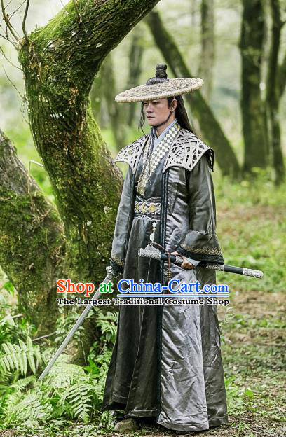 Chinese Ancient Swordsman Historical Television Bloody Romance Costume and Hat Complete Set for Men