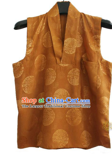 Chinese Tibetan Buddhism Brown Satin Vest Traditional Monk Waistcoat Upper Outer Garment for Men