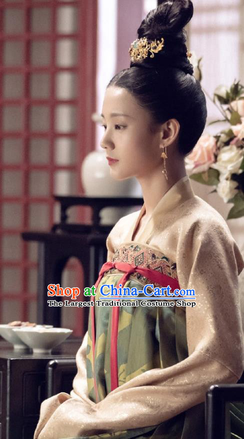 Royal Nirvana Chinese Ancient Patrician Lady Historical Costume Song Dynasty Dress and Headpiece for Women