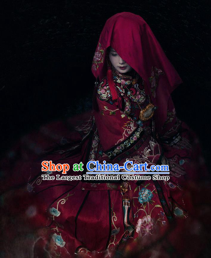 Chinese Ancient Wedding Costume Drama WuXin The Monster Killer Yue Qiluo Qing Dynasty Red Dress and Headpiece for Women