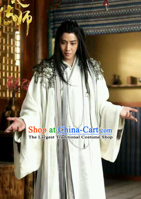 Historical Drama WuXin The Monster Killer Chinese Ancient Taoist Bai Liuli Costume and Headpiece for Men
