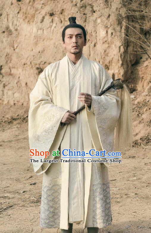 Historical Drama WuXin The Monster Killer Chinese Ancient Taoist Chu Chenzi Costume and Headpiece for Men