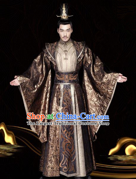 Chinese Ancient Emperor Tianhui Clothing Historical Drama Legend of Yun Xi Costume and Headpiece for Men