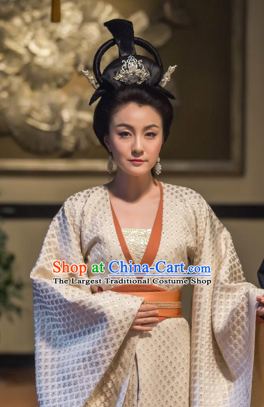 Chinese Ancient Dowager Consort Hanfu Dress Drama Legend of Yun Xi Costume and Headpiece for Women