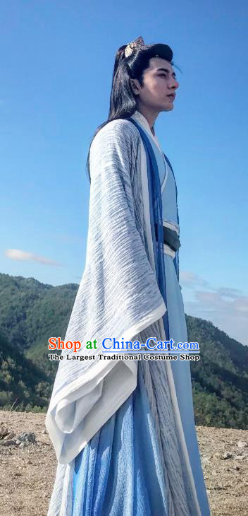 Chinese Ancient Second Prince Gu Qishao Clothing Historical Drama Legend of Yun Xi Costume and Headpiece for Men
