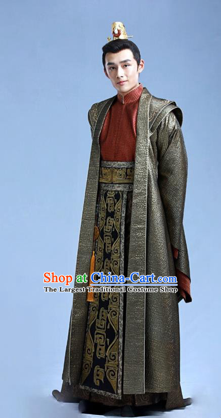 Chinese Ancient Crown Prince Long Tianmo Clothing Historical Drama Legend of Yun Xi Costume and Headpiece for Men