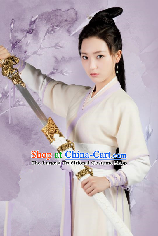 Chinese Ancient Female Swordsman Hanfu Dress Drama Legend of Yun Xi Costume and Headpiece for Women