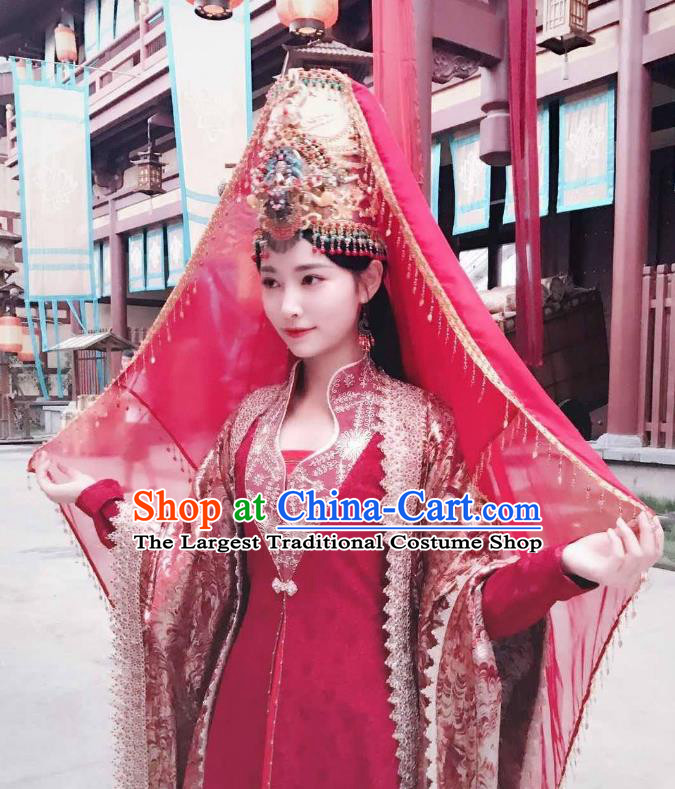 Chinese Ancient Bride Red Hanfu Dress Drama Legend of Yun Xi Costume and Headpiece for Women