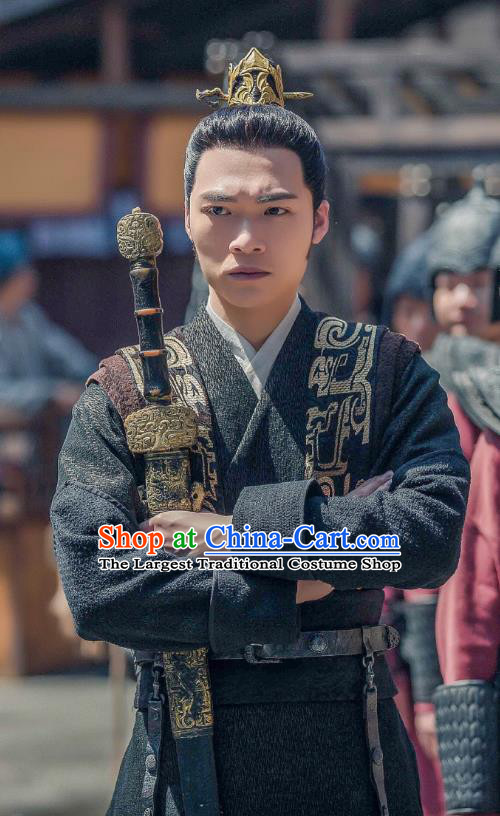 Chinese Ancient Swordsman Clothing Historical Drama Legend of Yun Xi Costume and Headpiece for Men