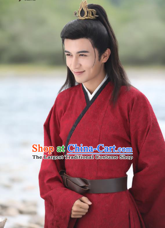 Chinese Ancient Prince Gu Qishao Red Clothing Historical Drama Legend of Yun Xi Costume and Headpiece for Men