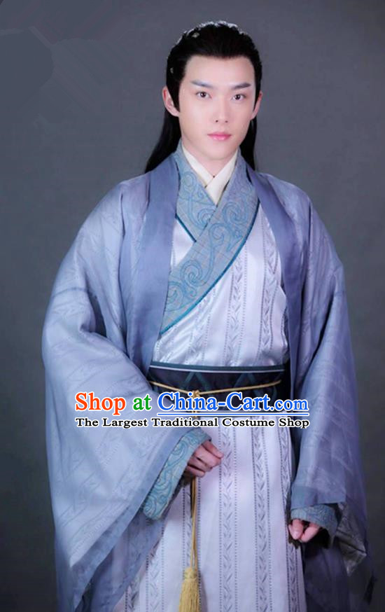Chinese Ancient Nobility Childe Gu Zhaohui Clothing Historical Drama Colourful Bone Costume and Headpiece for Men