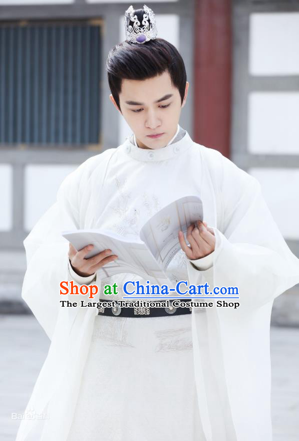 Chinese Ancient Prince Ren Sheng White Clothing Historical Drama Colourful Bone Costume and Headpiece for Men