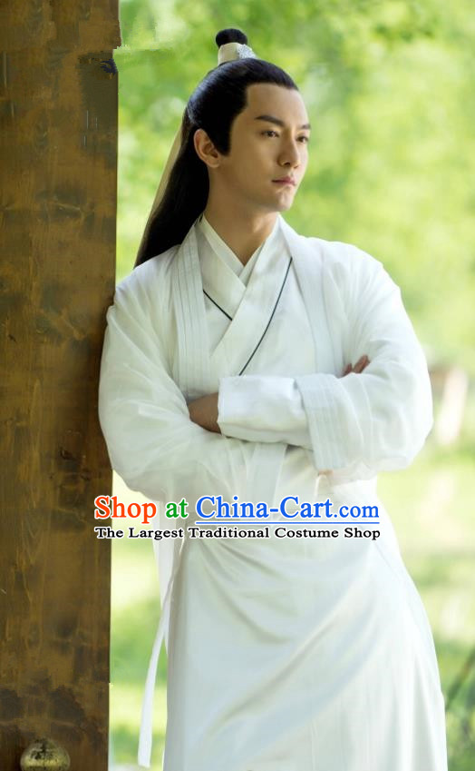 Chinese Ancient Swordsman Feng Ruge White Clothing Historical Drama Colourful Bone Costume for Men