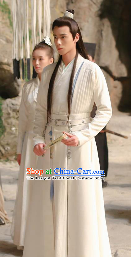 Chinese Ancient Swordsman Hua Wuque White Clothing Historical Drama Handsome Siblings Costume and Headpiece for Men