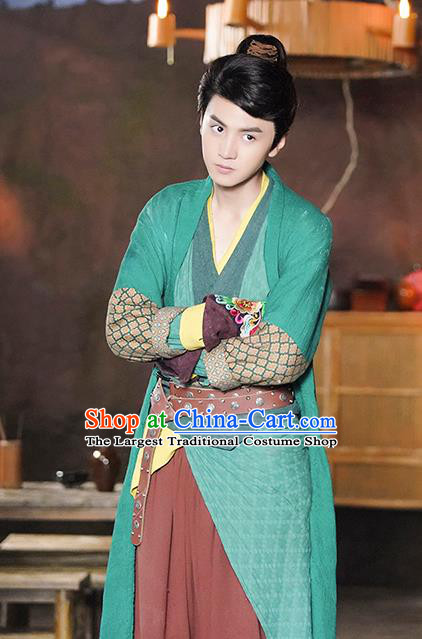 Chinese Ancient Swordsman Xiao Yuer Green Clothing Historical Drama Handsome Siblings Costume and Headpiece for Men