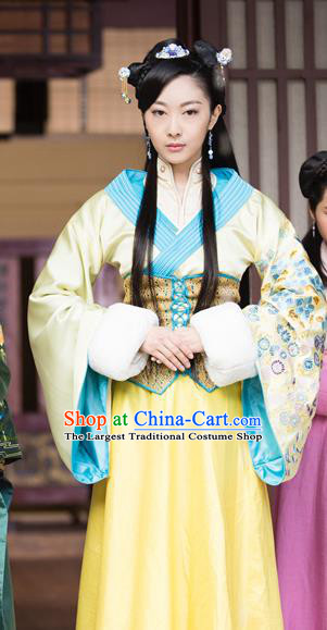 Chinese Historical Drama The Eternal Love Ancient Princess Qu Pan Er Costume and Headpiece for Women