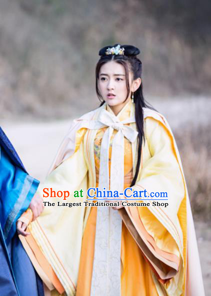 Chinese Historical Drama The Eternal Love Ancient Princess Qu Tan Er Costume and Headpiece for Women