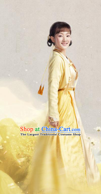 Chinese Historical Drama The Eternal Love Ancient Palace Maid Jing Xin Costume and Headpiece for Women