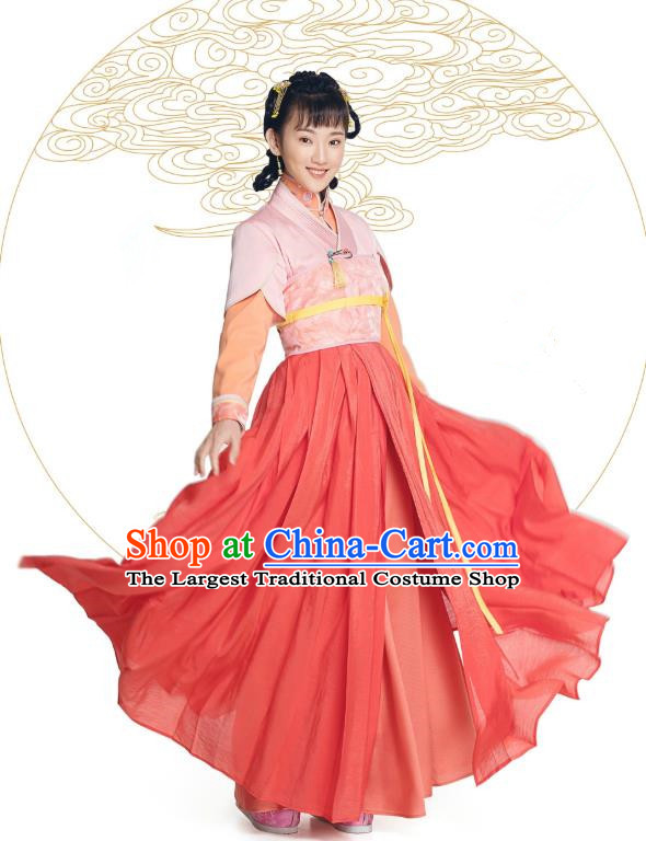 Chinese Historical Drama The Eternal Love Ancient Maidservant Jing Xin Costume and Headpiece for Women