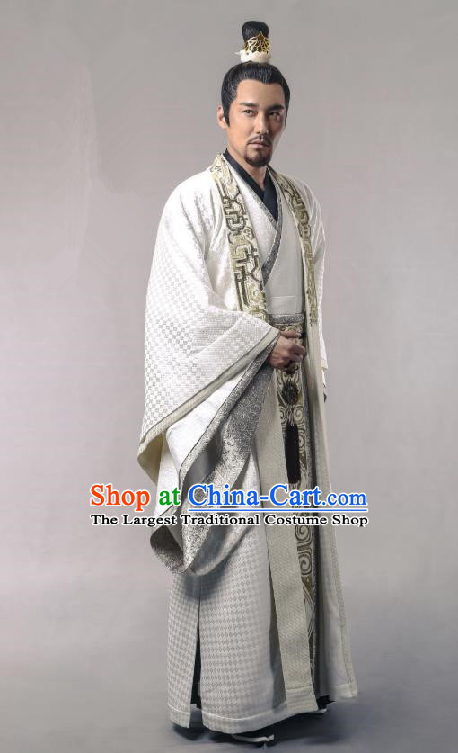 Swords of Legends Chinese Ancient Duke Yue Shaocheng Clothing Historical Drama Costume and Headwear for Men