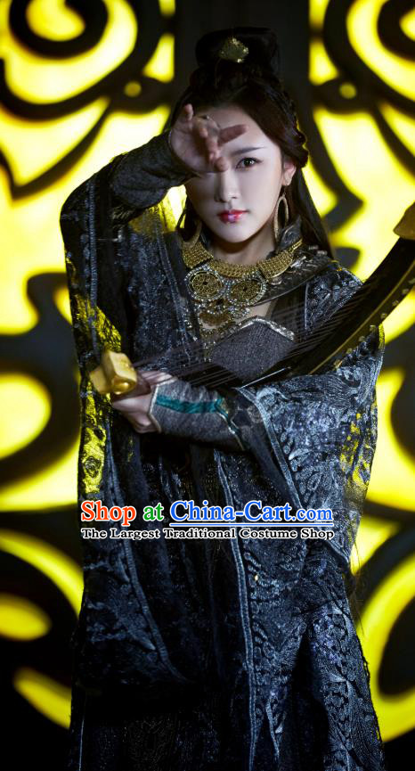 Chinese Historical Drama Swords of Legends Ancient Female Presbyter Hua Yue Costume and Headpiece for Women