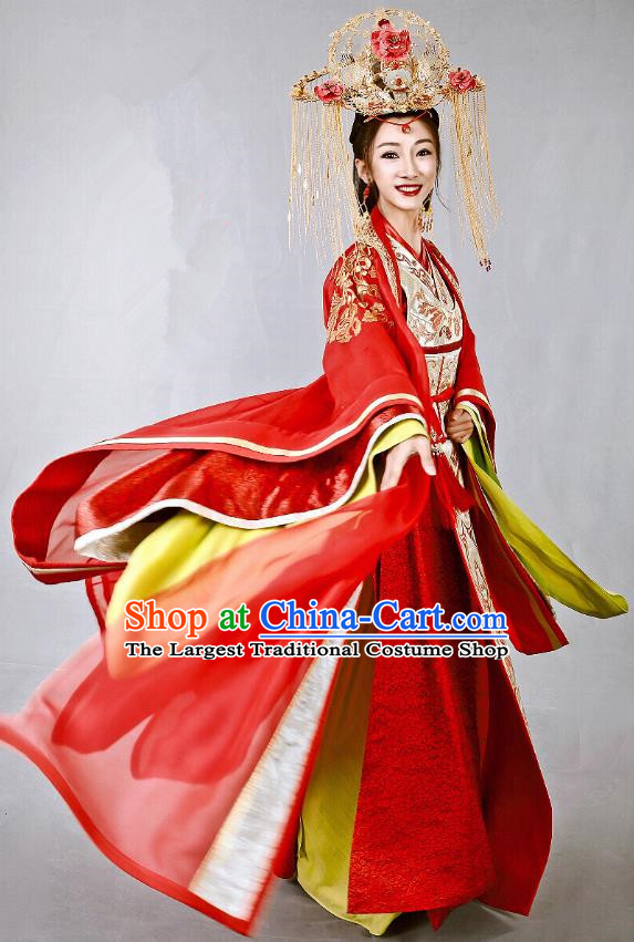 Chinese Historical Drama Swords of Legends Ancient Princess Zhaoning Wedding Costume and Headpiece for Women