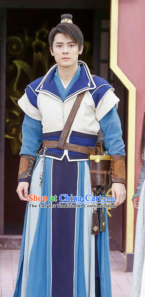 Swords of Legends Chinese Ancient Swordsman Yue Wuyi Clothing Historical Drama Costume and Headwear for Men