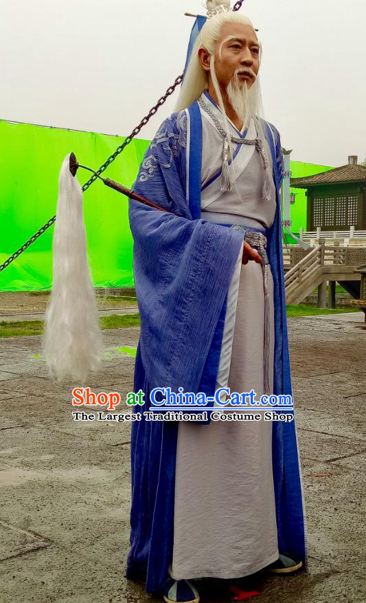 Swords of Legends Chinese Ancient Taoist Priest Qinghe Clothing Historical Drama Costume and Headwear for Men