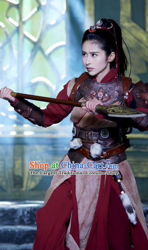 Chinese Historical Drama Swords of Legends Ancient Female General Wen Renyu Costume and Headpiece for Women