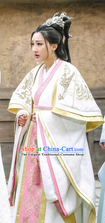 Chinese Historical Drama Swords of Legends Ancient Royal Princess Zhaoning Costume and Headpiece for Women