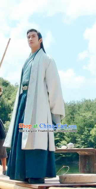 Chinese Drama Princess Silver Ancient Prince Wu You Blue Historical Costume and Headwear for Men