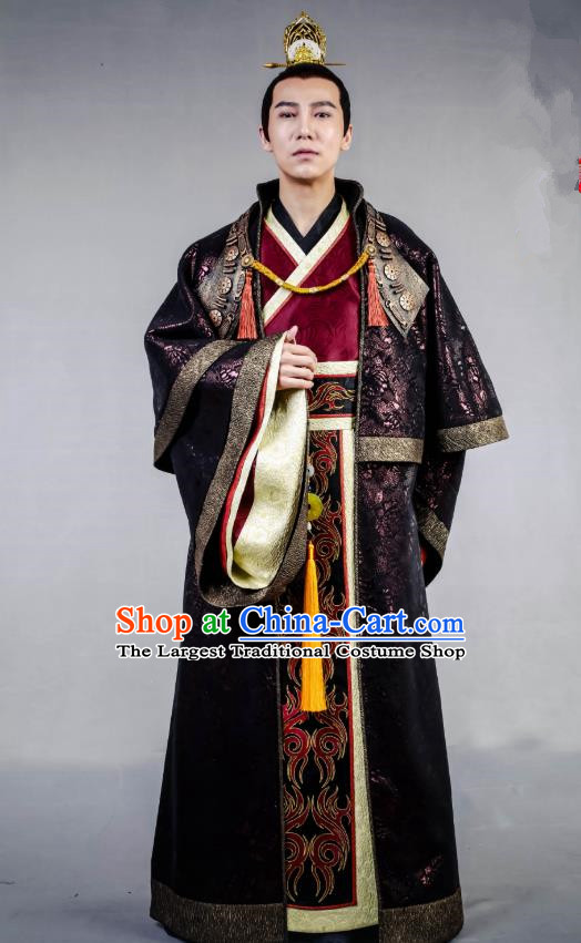 Swords of Legends Chinese Ancient King Li Niao Clothing Historical Drama Costume and Headwear for Men