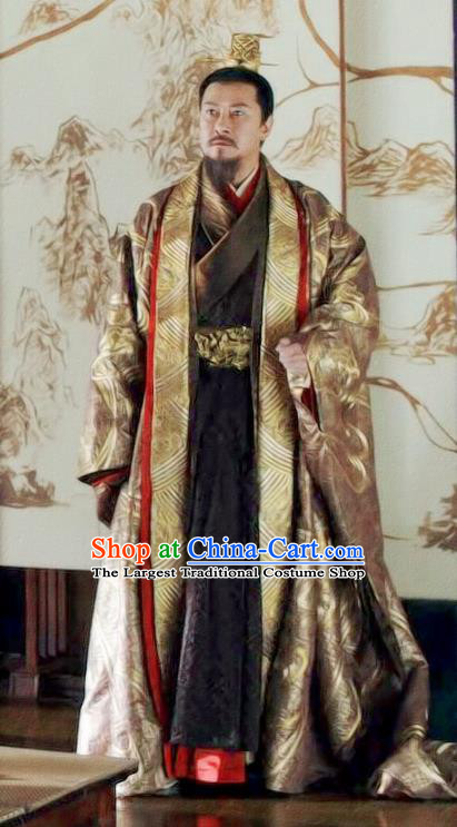 Chinese Drama Princess Silver Ancient Emperor Lin Historical Costume and Headwear for Men