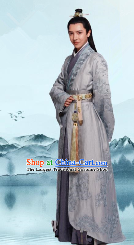 Chinese Drama Princess Silver Ancient Prince Wu Yu Historical Costume and Headwear for Men