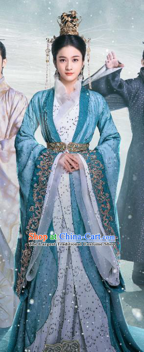 Chinese Ancient Crown Princess Rong Le Historical Drama Princess Silver Costume and Headpiece for Women