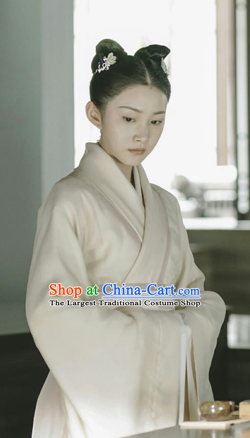 Chinese Ancient Court Maid Ling Yue Historical Drama Princess Silver Costume and Headpiece for Women