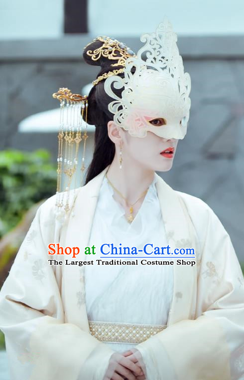 Chinese Ancient Court Princess Rong Le Historical Drama Princess Silver Costume and Headpiece for Women