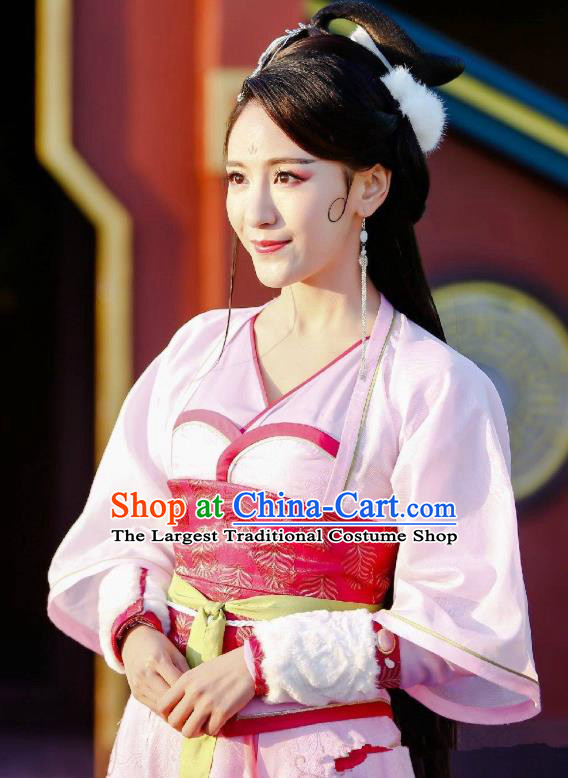 Chinese Historical Drama Swords of Legends Ancient Female Swordsman Pi Chen Costume and Headpiece for Women