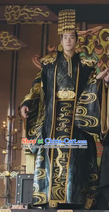Chinese Drama Princess Silver Ancient Emperor Wu You Historical Costume and Headwear for Men