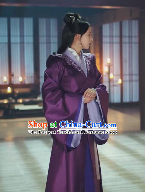 Chinese Ancient Noble Princess Zhao Yun Historical Drama Princess Silver Purple Costume and Headpiece for Women